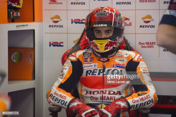 Marc Marquez of Spain and Repsol Honda Team looks on in box during the qualifying practice during the MotoGP Netherlands Qualifying on June 24 2017...