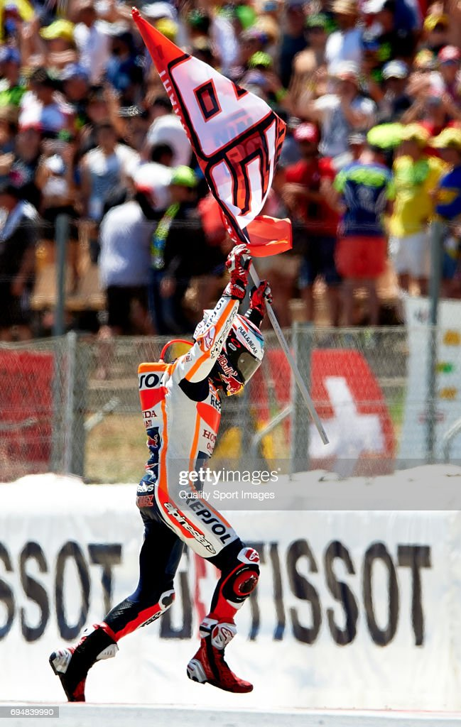 Marc Marquez of Spain and Repsol Honda Team reacts after the MotoGp race for the MotoGP of Catalunya at Circuit de Catalunya on June 11, 2017 in Montmelo, Spain.