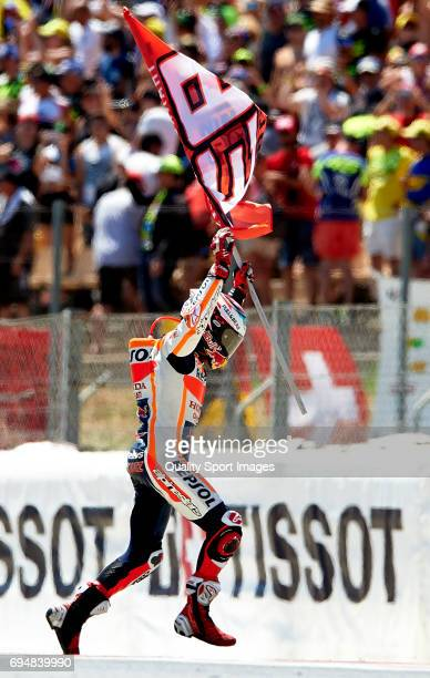 Marc Marquez of Spain and Repsol Honda Team reacts after the MotoGp race for the MotoGP of Catalunya at Circuit de Catalunya on June 11 2017 in...