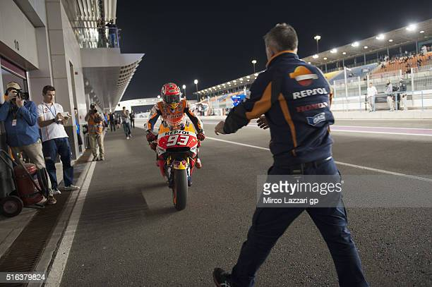 Marc Marquez of Spain and Repsol Honda Team returns in box during the MotoGp of Qatar Free Practice at Losail Circuit on March 18 2016 in Doha Qatar