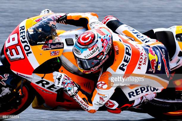 Marc Marquez of Spain and Repsol Honda Team rides during free practice for the MotoGP of Catalunya at Circuit de Catalunya on June 9 2017 in Montmelo...