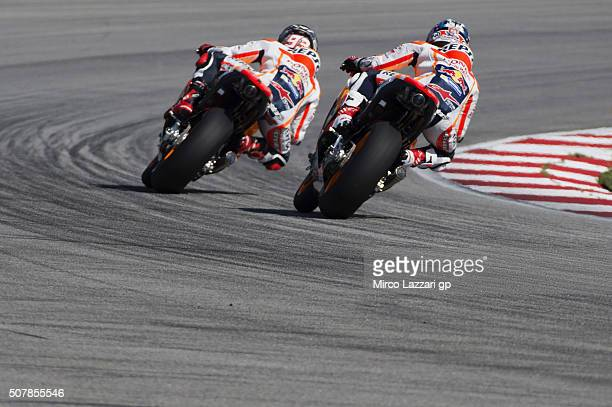 Marc Marquez of Spain and Repsol Honda Team rleads Dani Pedrosa of Spain and Repsol Honda Team during the MotoGP Tests In Sepang at Sepang Circuit on...