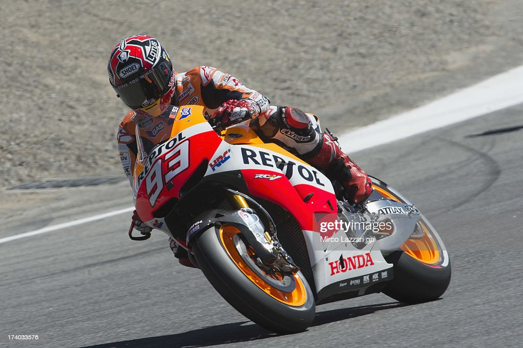 Marc Marquez of Spain and Repsol Honda Team rounds the bend during the MotoGp Red Bull U.S. Grand Prix - Free Practice at Mazda Raceway Laguna Seca on July 19, 2013 in Monterey, California.
