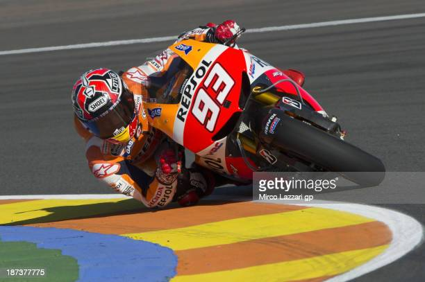 Marc Marquez of Spain and Repsol Honda Team rounds the bend during the MotoGP of Valencia Free Practice at Ricardo Tormo Circuit on November 8 2013...