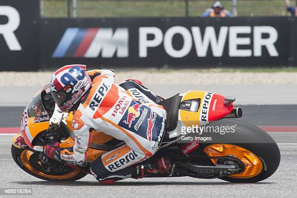 Marc Marquez of Spain and Repsol Honda Team rounds the bend during the MotoGP race during the MotoGp Red Bull US Grand Prix of The Americas Race at...