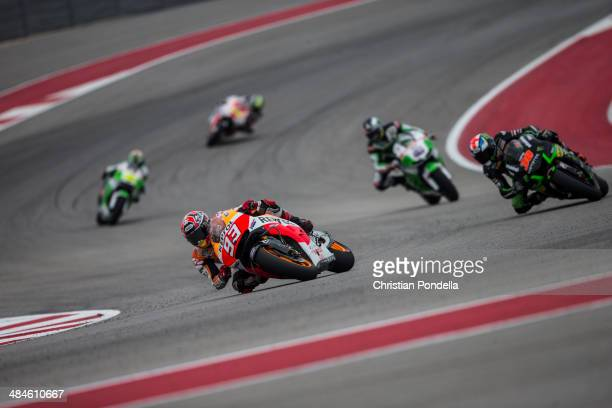 Marc Marquez of Spain and Repsol Honda Team rounds the bend during warm up for the MotoGP Red Bull US Grand Prix of The Americas at Circuit of The...