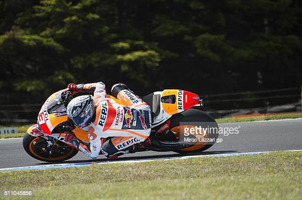 Marc Marquez of Spain and Repsol Honda Team rounds the bend during the 2016 MotoGP Test Day at Phillip Island Grand Prix Circuit on February 18 2016...