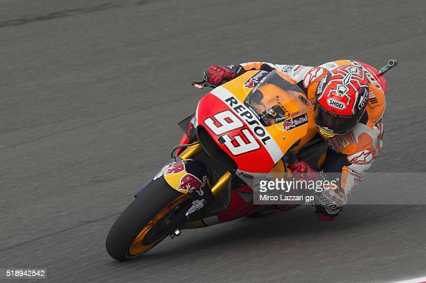 Marc Marquez of Spain and Repsol Honda Team rounds the bend during the MotoGP Race during the MotoGp of Argentina Race at Termas De Rio Hondo Circuit...
