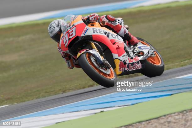 Marc Marquez of Spain and Repsol Honda Team rounds the bend during the MotoGP Netherlands Free Practice on June 23 2017 in Assen Netherlands