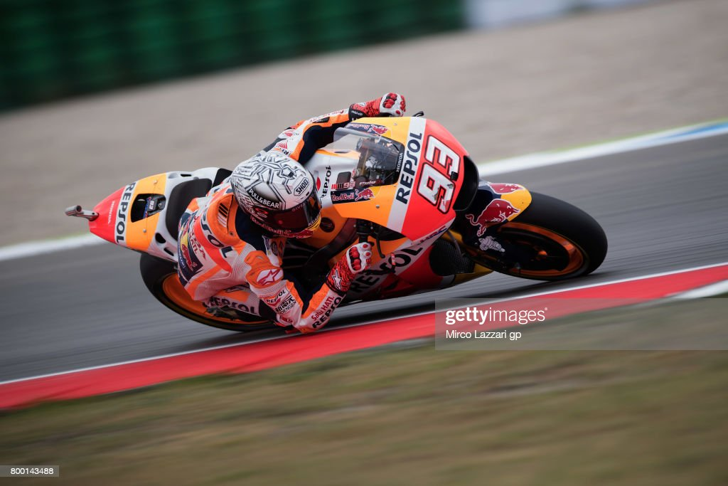 Marc Marquez of Spain and Repsol Honda Team rounds the bend during the MotoGP Netherlands - Free Practice on June 23, 2017 in Assen, Netherlands.
