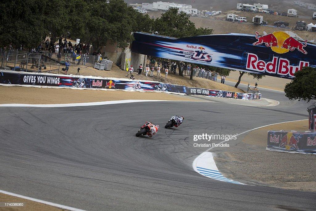 Marc Marquez of Spain and Repsol Honda Team rounds the corner at the MotoGP race of Red Bull U.S. Grand Prix at Mazda Raceway Laguna Seca on July 19, 2013 in Monterey, California.
