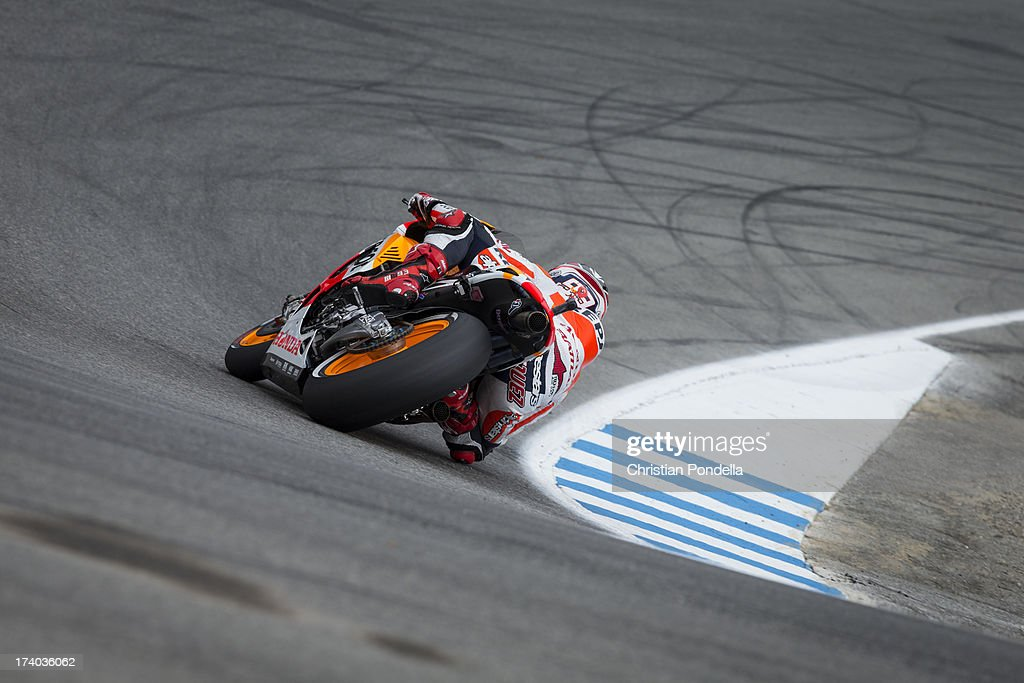 Marc Marquez of Spain and Repsol Honda Team rounds the corner at the MotoGP race of Red Bull U.S. Grand Prix at Mazda Raceway Laguna Seca on July 19, 2013 in Monterey, California.