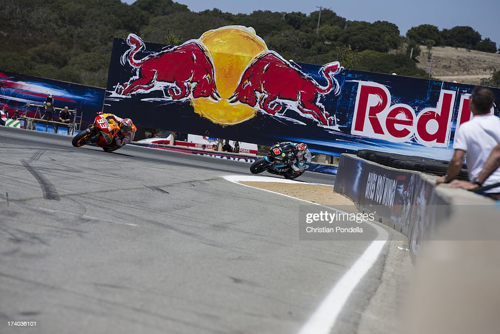 <a gi-track='captionPersonalityLinkClicked' href=/galleries/search?phrase=Marc+Marquez&family=editorial&specificpeople=5409395 ng-click='$event.stopPropagation()'>Marc Marquez</a> of Spain and Repsol Honda Team rounds the corner at the MotoGP race of Red Bull U.S. Grand Prix at Mazda Raceway Laguna Seca on July 19, 2013 in Monterey, California.
