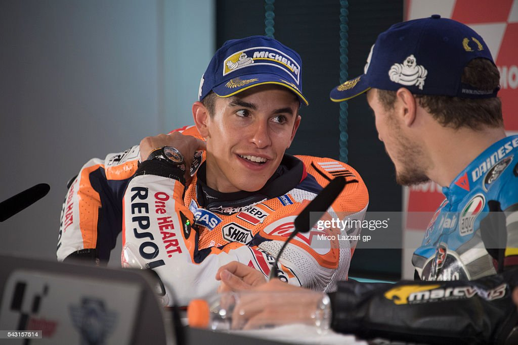 <a gi-track='captionPersonalityLinkClicked' href=/galleries/search?phrase=Marc+Marquez&family=editorial&specificpeople=5409395 ng-click='$event.stopPropagation()'>Marc Marquez</a> of Spain and Repsol Honda Team spaks with <a gi-track='captionPersonalityLinkClicked' href=/galleries/search?phrase=Jack+Miller+-+Motorcycle+Racer&family=editorial&specificpeople=14824906 ng-click='$event.stopPropagation()'>Jack Miller</a> of Australia and Marc VDS Racing Team during the press conference at the end of the MotoGP race during the MotoGP Netherlands - Race at on June 26, 2016 in Assen, Netherlands.