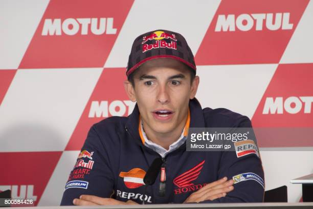 Marc Marquez of Spain and Repsol Honda Team speaks during the press conference during the MotoGP Netherlands Qualifying on June 24 2017 in Assen...