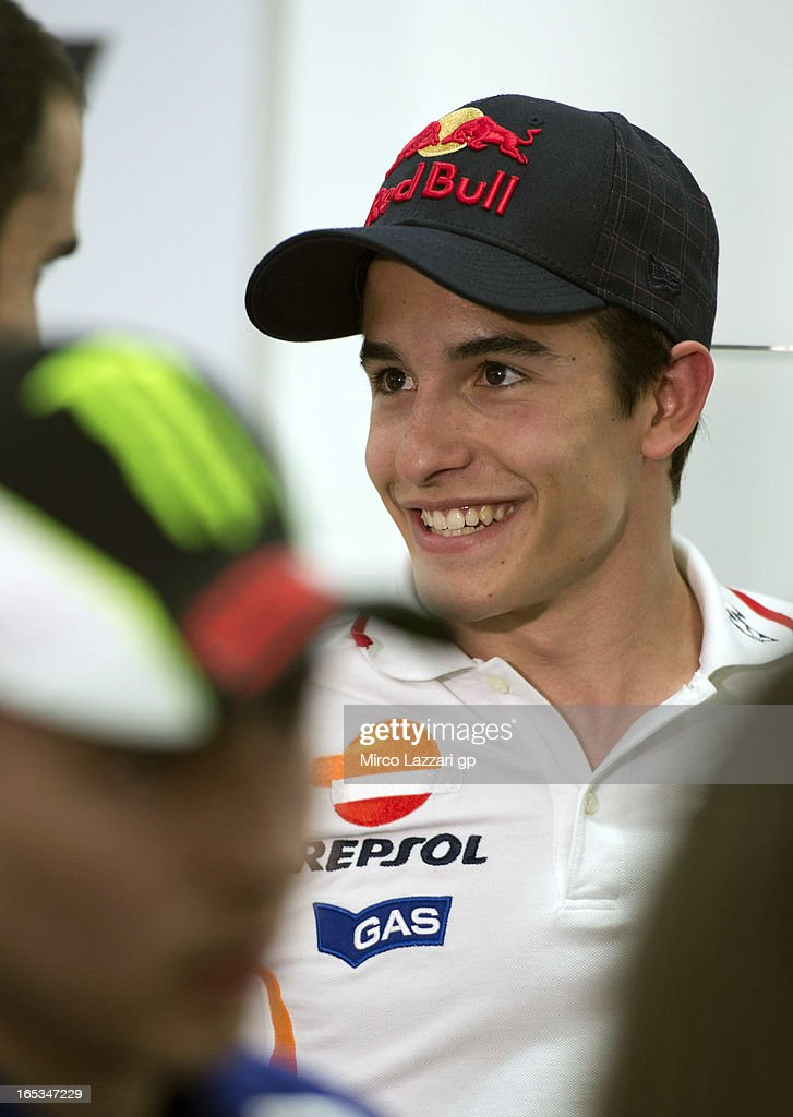 <a gi-track='captionPersonalityLinkClicked' href=/galleries/search?phrase=Marc+Marquez&family=editorial&specificpeople=5409395 ng-click='$event.stopPropagation()'>Marc Marquez</a> of Spain and Repsol Honda Team speaks with journalists during the press conference pre-event during MotoGp of Qatar at Losail Circuit on April 3, 2013 in Doha, Qatar.