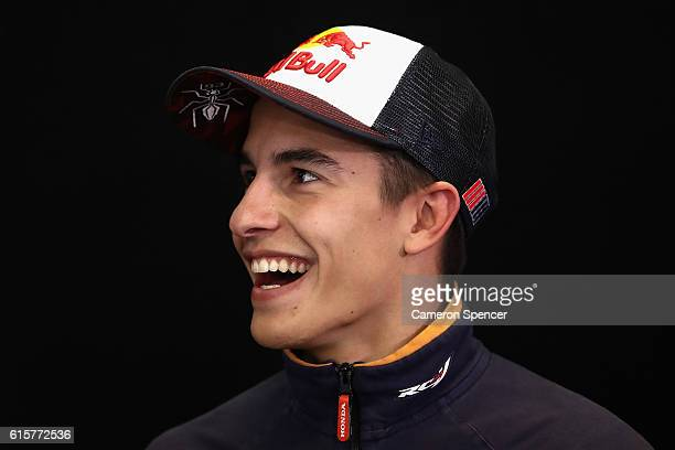 Marc Marquez of Spain and Repsol Honda Team talks during a press conference ahead of the 2016 MotoGP of Australia at Phillip Island Grand Prix...