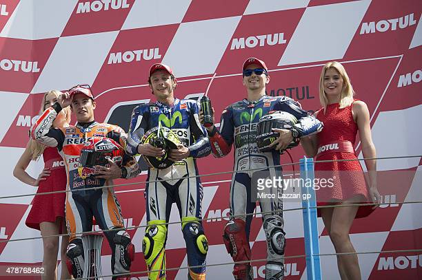 Marc Marquez of Spain and Repsol Honda Team Valentino Rossi of Italy and Movistar Yamaha MotoGP and Jorge Lorenzo of Spain and Movistar Yamaha MotoGP...