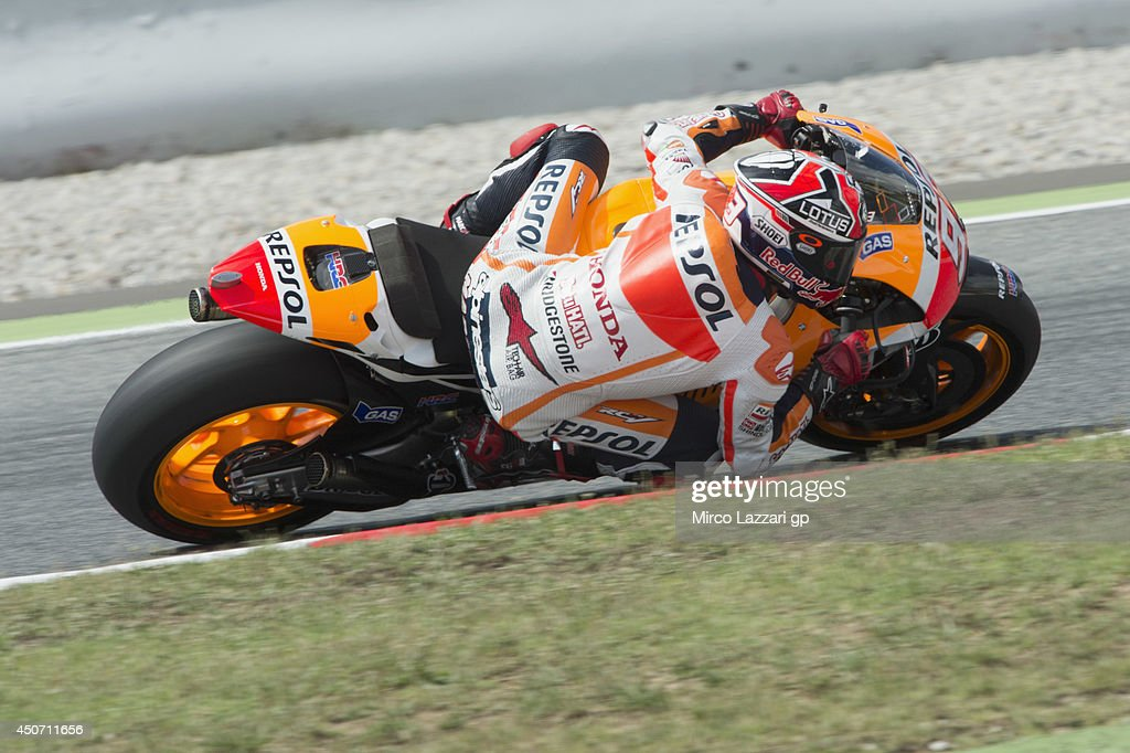 Marc Marquez of Spain and Repsol Honda Teamrounds the bend during the MotoGp Tests In Montmelo at Circuit de Catalunya on June 16, 2014 in Montmelo, Spain.