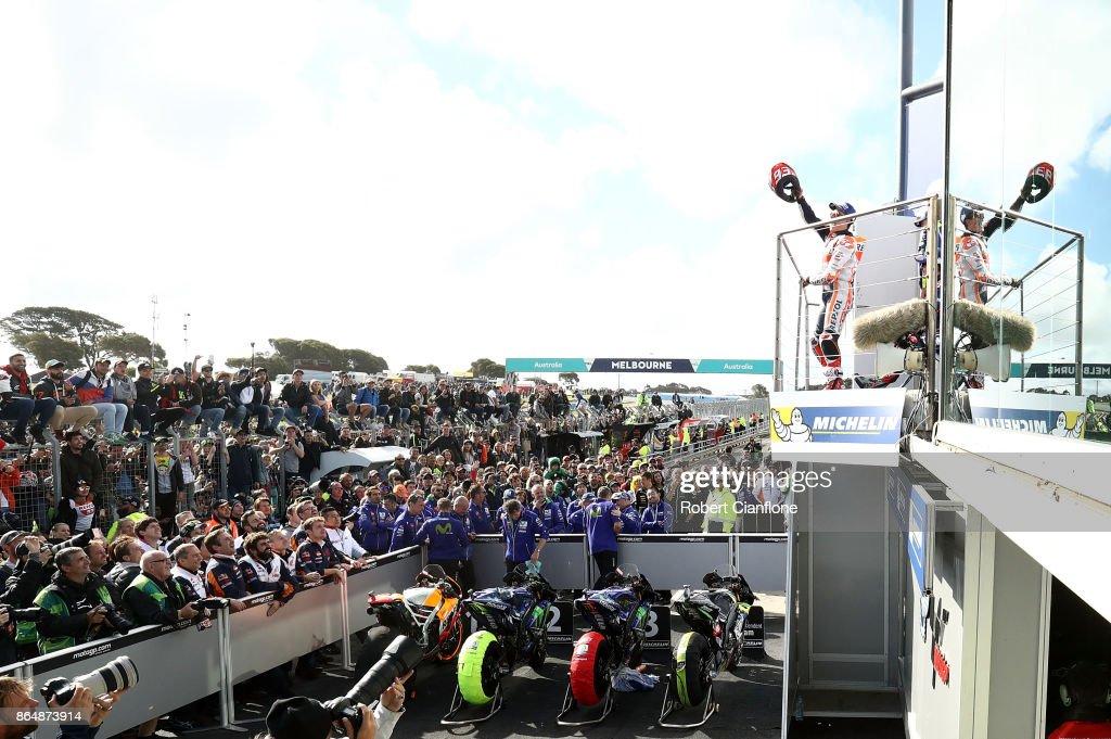 Marc Marquez of Spain and rider of the #93 REPSOL HONDA TEAM Honda celebrates on the podium after winning the 2017 MotoGP of Australia at Phillip Island Grand Prix Circuit on October 22, 2017 in Phillip Island, Australia.