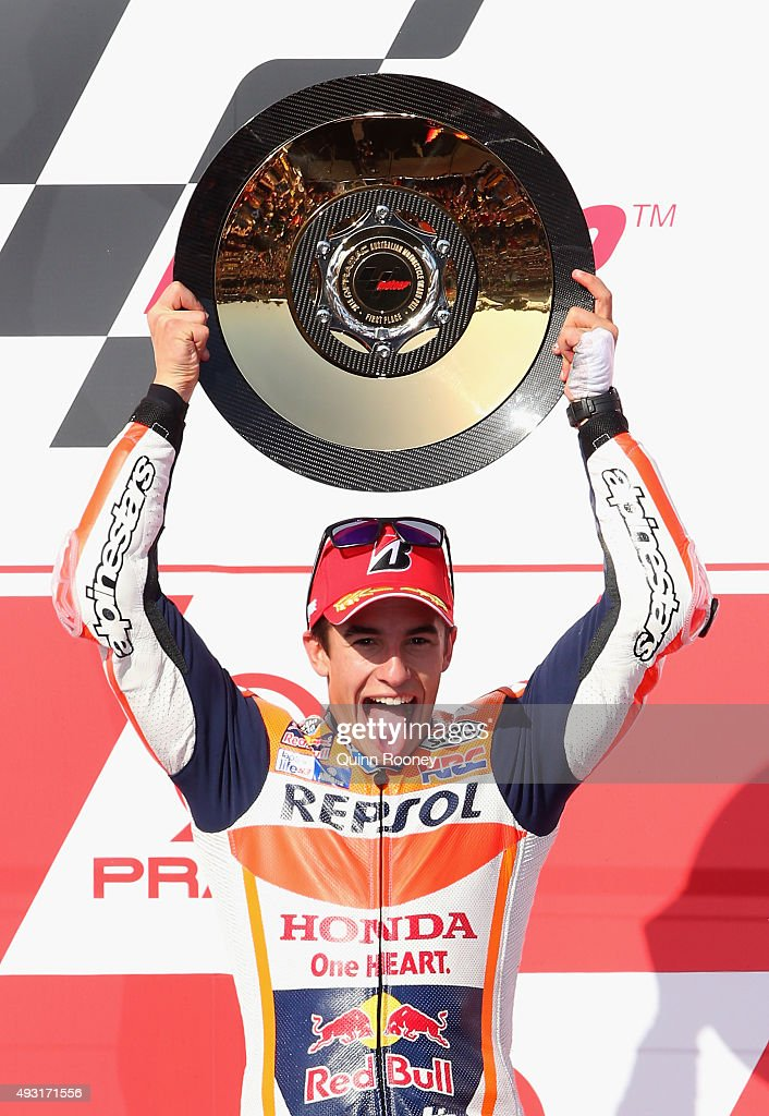 Marc Marquez of Spain and the Repsol Honda team celebrates winning the 2015 MotoGP of Australia at Phillip Island Grand Prix Circuit on October 18, 2015 in Phillip Island, Australia.