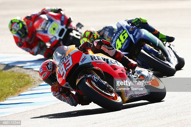 Marc Marquez of Spain and the Repsol Honda Team leads competitors during the 2015 MotoGP of Australia at Phillip Island Grand Prix Circuit on October...