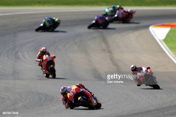 Marc Marquez of Spain and the Repsol Honda Team leads during the MotoGP of Aragon at Motorland Aragon Circuit on September 24 2017 in Alcaniz Spain