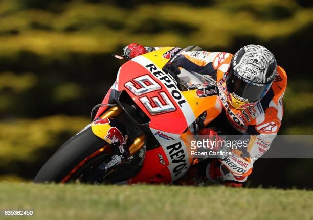 Marc Marquez of Spain and the Repsol Honda Team rides during 2017 MotoGP preseason testing at Phillip Island Grand Prix Circuit on February 15 2017...