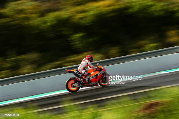 Marc Marquez of Spain and the Repsol Honda Team rides during final practice for the MotoGP of Spain at Circuito de Jerez on May 6 2017 in Jerez de la...