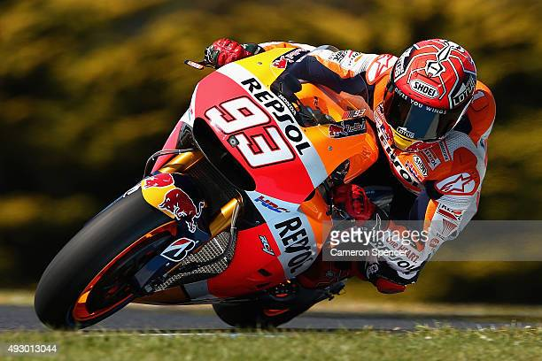 Marc Marquez of Spain and the Repsol Honda team rides during free practice for the 2015 MotoGP of Australia at Phillip Island Grand Prix Circuit on...