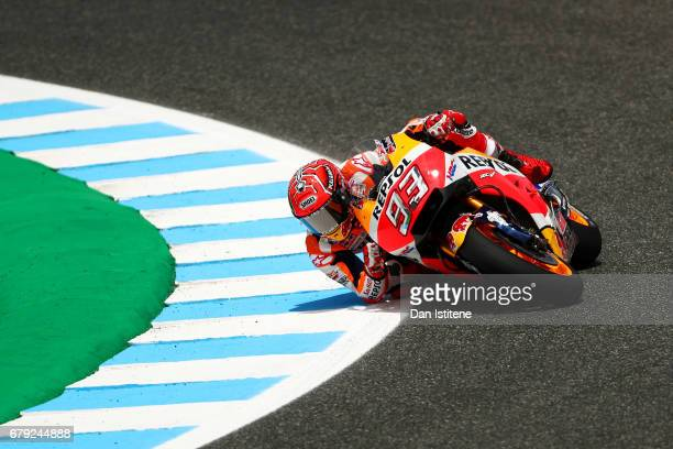 Marc Marquez of Spain and the Repsol Honda Team rides during free practice for the MotoGP of Spain at Circuito de Jerez on May 5 2017 in Jerez de la...