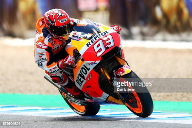 Marc Marquez of Spain and the Repsol Honda Team rides during his final lap in qualifying for the MotoGP of Spain at Circuito de Jerez on May 6 2017...