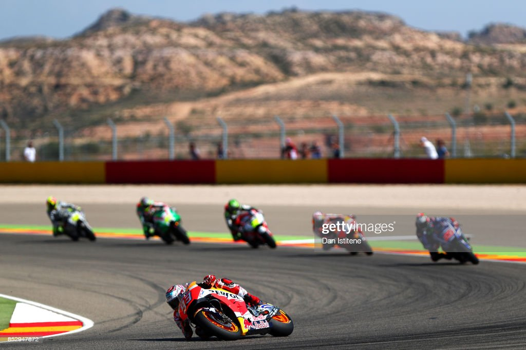 Marc Marquez of Spain and the Repsol Honda Team rides during the MotoGP of Aragon at Motorland Aragon Circuit on September 24, 2017 in Alcaniz, Spain.