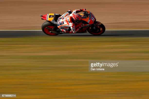 Marc Marquez of Spain and the Repsol Honda Team rides during warmup for the MotoGP of Spain at Circuito de Jerez on May 7 2017 in Jerez de la...