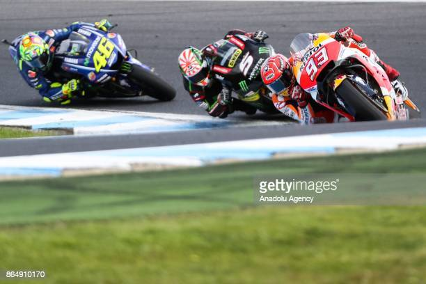 Marc Marquez of Spain Repsol Honda Team ahead of Johann Zarco of France riding for Monster Yamaha Tech 3 and Valentino Rossi of Italy riding for...