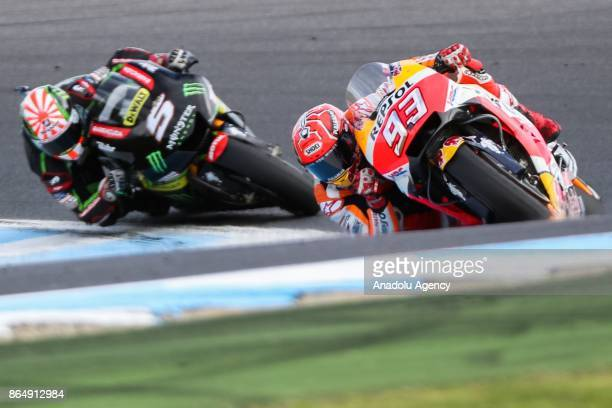 Marc Marquez of Spain Repsol Honda Team ahead of Johann Zarco of France riding for Monster Yamaha Tech 3 are seen during the 2017 MotoGP of Australia...