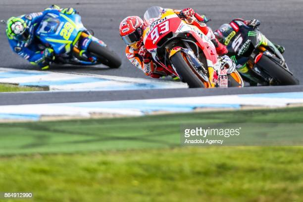 Marc Marquez of Spain Repsol Honda Team ahead of Johann Zarco of France riding for Monster Yamaha Tech 3 and Andrea Iannone of Italy riding for Team...