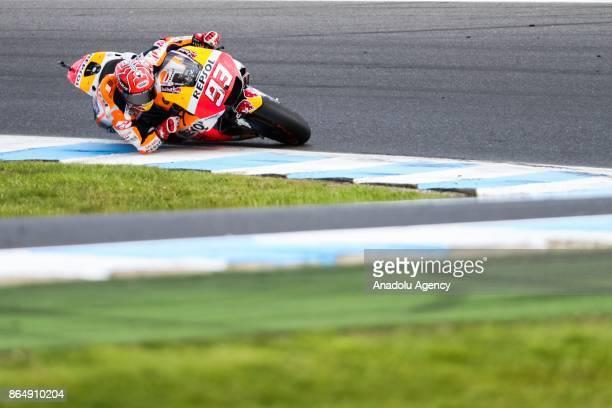 Marc Marquez of Spain Repsol Honda Team during the 2017 MotoGP of Australia Phillip Island Grand Prix Circuit in Phillip Island Australia on October...