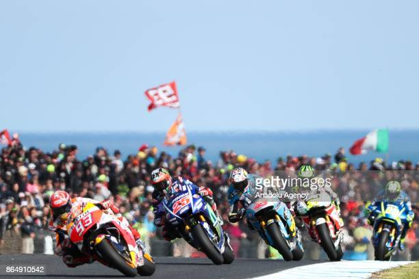 Marc Marquez of Spain Repsol Honda Team followed by Maverick Vinales of Spain riding for Movistar Yamaha MotoGP are seen during the 2017 MotoGP of...