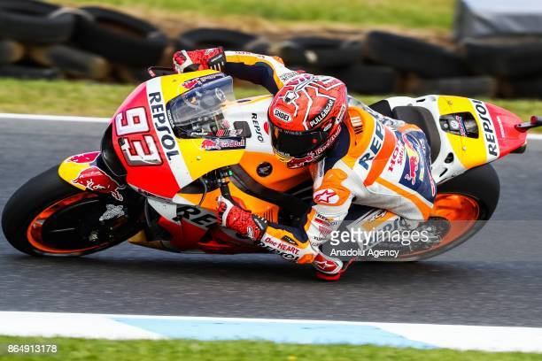 Marc Marquez of Spain Repsol Honda Team is seen during the 2017 MotoGP of Australia Phillip Island Grand Prix Circuit in Phillip Island Australia...