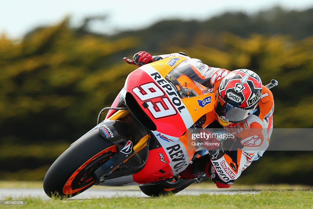 <a gi-track='captionPersonalityLinkClicked' href=/galleries/search?phrase=Marc+Marquez&family=editorial&specificpeople=5409395 ng-click='$event.stopPropagation()'>Marc Marquez</a> of Spain rides the #93 Repsol Honda Team Honda during practise for the 2014 MotoGP of Australia at Phillip Island Grand Prix Circuit on October 18, 2014 in Phillip Island, Australia.