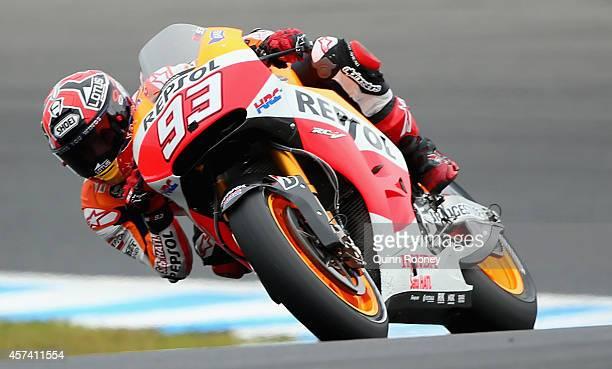 Marc Marquez of Spain rides the Repsol Honda Team Honda during qualifying for the 2014 MotoGP of Australia at Phillip Island Grand Prix Circuit on...