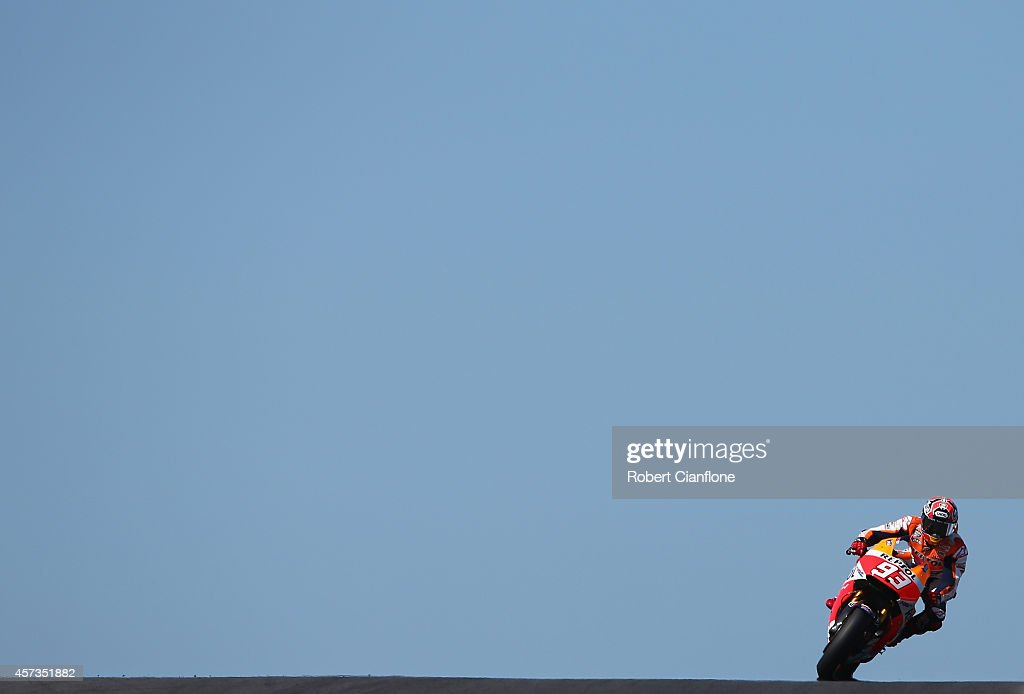 Marc Marquez of Spain rides the #93 Repsol Honda Team Honda during free practice for the 2014 MotoGP of Australia at Phillip Island Grand Prix Circuit on October 17, 2014 in Phillip Island, Australia.