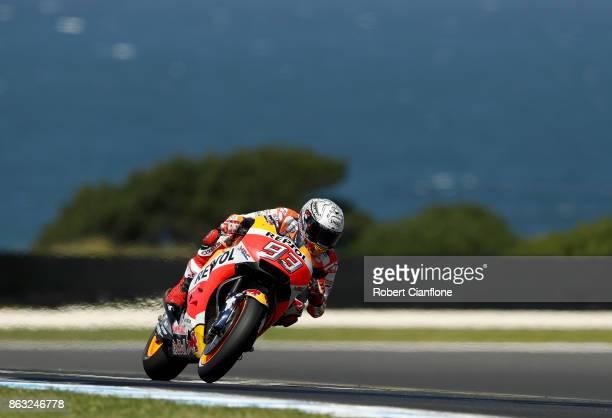 Marc Marquez of Spain rides the REPSOL HONDA TEAM Honda during free practice for the 2017 MotoGP of Australia at Phillip Island Grand Prix Circuit on...