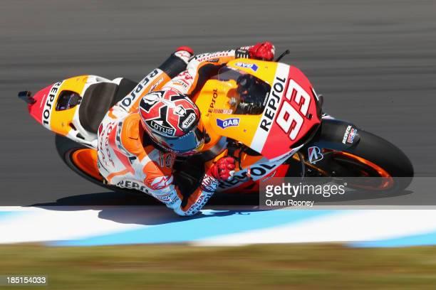 Marc Marquez of Spain rides the Repsol Honda Team Honda during MotoGP free practice at Phillip Island Grand Prix Circuit on October 18 2013 in...