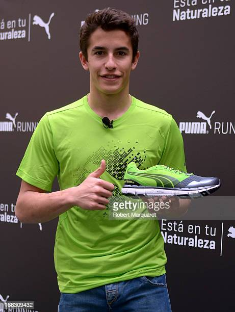 Marc Marquez presents the new Puma Running shoe to the media at the Puma Sports Spain headquarters on April 11 2013 in Barcelona Spain