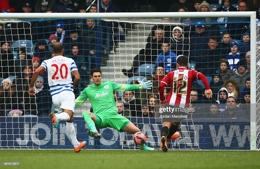 Marc McNulty of Sheffield United (12) scores their first goal past goalkeeper Alex McCarthy of QPR during the FA Cup Third Round match between Queens Park Rangers and Sheffield United at Loftus Road on January 4, 2015 in London, England.