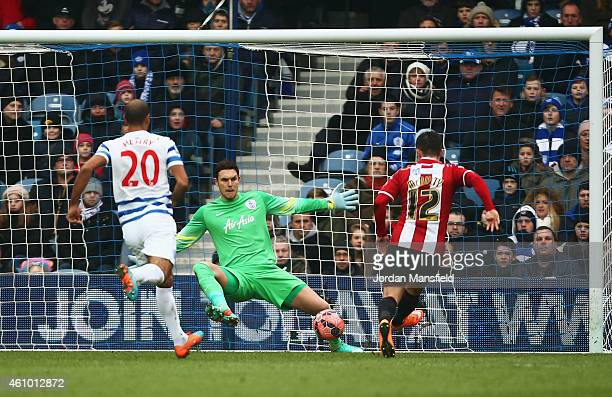Marc McNulty of Sheffield United scores their first goal past goalkeeper Alex McCarthy of QPR during the FA Cup Third Round match between Queens Park...