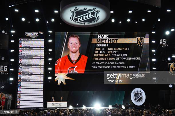 Marc Methot is selected by the Las Vegas Golden Knights during the 2017 NHL Awards and Expansion Draft at TMobile Arena on June 21 2017 in Las Vegas...