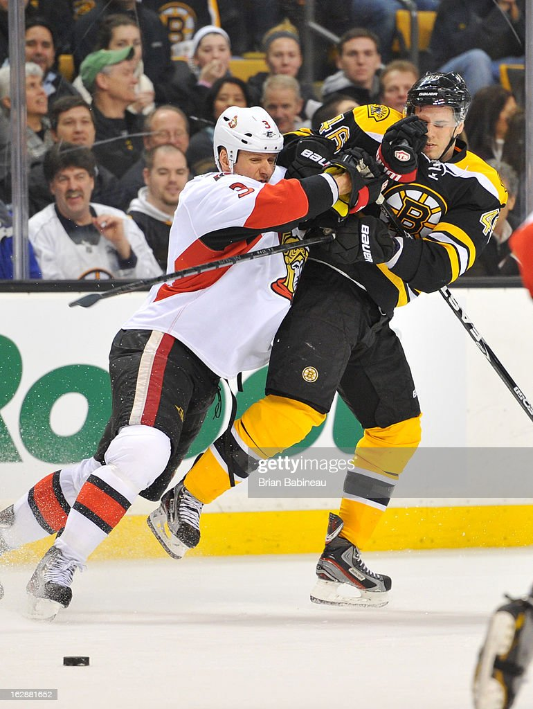 <a gi-track='captionPersonalityLinkClicked' href=/galleries/search?phrase=Marc+Methot&family=editorial&specificpeople=2216900 ng-click='$event.stopPropagation()'>Marc Methot</a> #3 of the Ottawa Senators checks against <a gi-track='captionPersonalityLinkClicked' href=/galleries/search?phrase=David+Krejci&family=editorial&specificpeople=722556 ng-click='$event.stopPropagation()'>David Krejci</a> #46 of the Boston Bruins at the TD Garden on February 28, 2013 in Boston, Massachusetts.